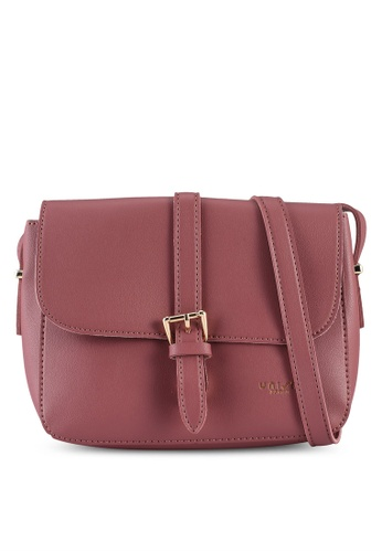 Unisa pink Faux Leather Sling Bag With Flap Over 989EEAC3349DDAGS_1