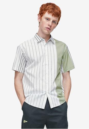 URBAN REVIVO white Panelled Printed Shirt 0A329AAC56AA14GS_1