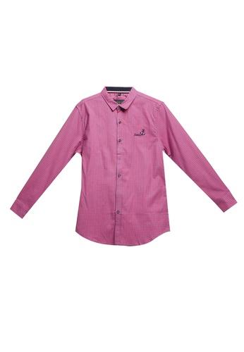 Fidelio pink Checkered Long Sleeve Shirt 9F48FAA380E1E7GS_1