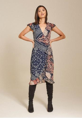 Dressing Paula navy Wrap-Effect Printed Chiffon Dress A00B8AA2FB1FD3GS_1