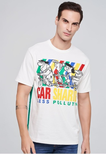 United Colors of Benetton white Printed T-shirt B3A6CAAC6A9F87GS_1