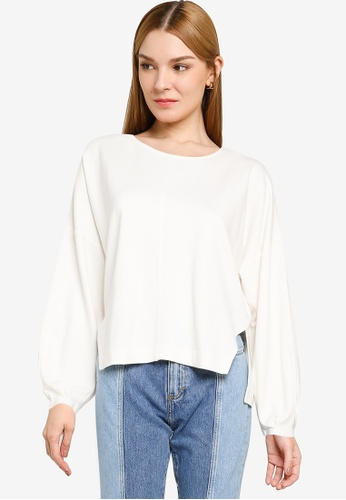 French Connection white Suzie Jersey Puff Sleeve Top 6A3E7AAB0EA1F7GS_1