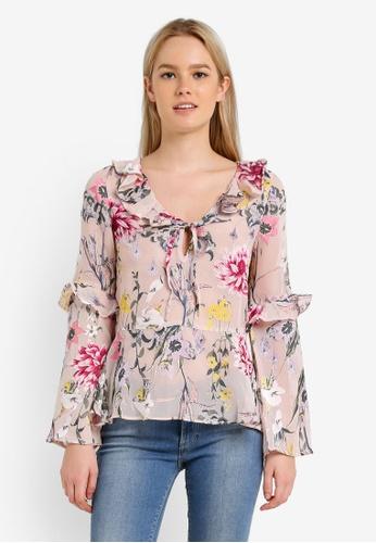 Miss Selfridge multi Burnout Floral Print Blouse MI665AA0RN0MMY_1