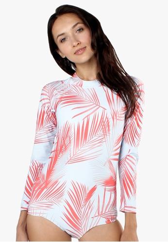 Shapes and Curves multi Palm Tree Leaf Rashguard One Piece Swimsuit SH408US0IZ4XPH_1