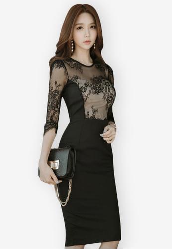 Sunnydaysweety black 2018 New Lace Mid Sleeves One Piece Dress E167DAAC3C4B28GS_1