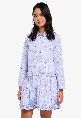 Something Borrowed blue Stitched Ruffles Zip Through Shirt Dress D062CAA8D0D832GS_1
