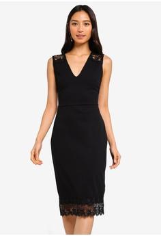 f56ea691c8141b Dorothy Perkins black Black Lace Shoulder Pencil Dress 3FE17AA026ACFFGS 1