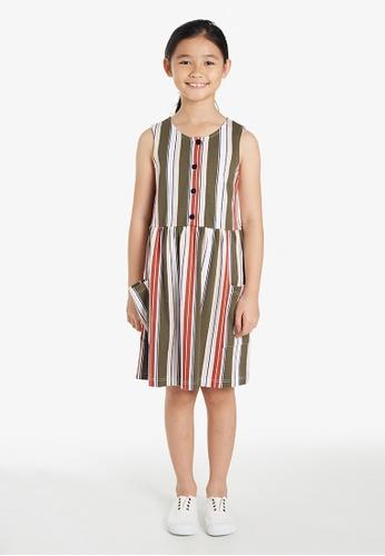 Gen Woo green Deckchair Stripe Paperbag Dress By Gen Woo B2CDAKAB0707D2GS_1