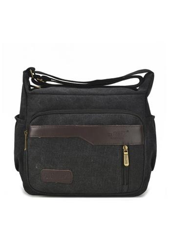 Jackbox black Korean Fashion GMZ Canvas Messenger Bag Sling Bag 351 (Black) E6F1DAC1249510GS_1