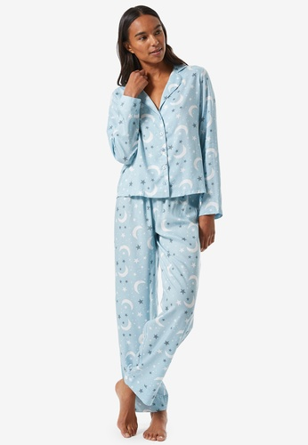 Dorothy Perkins blue Blue Moon & Stars Printed Collar PJ Set 0B058AAE246AC1GS_1