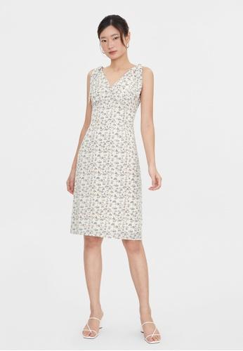 Pomelo white Floral Print Tie Shoulder Dress - White 0C4BCAA8BF60A9GS_1