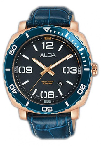Alba blue Jam Tangan Pria Alba Original Garansi Resmi Strap Leather Blue AG8H96 AG8H96X1 Blue E6B1BAC384C806GS_1