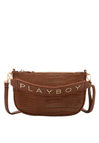 PLAYBOY BUNNY brown Logo Embossed Croc Baguette Bag 35490ACCBC4AEDGS_1
