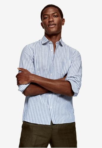 MANGO Man blue Regular-Fit Striped Linen Shirt 70D96AA31FF722GS_1