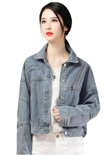 A-IN GIRLS blue Stylish Short Long Sleeve Denim Jacket 686D6AA4EC5735GS_1