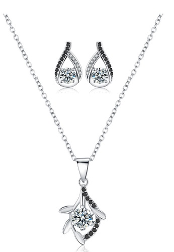 A-Excellence white Premium Elegant White Sliver Necklace Earring Set 19314ACEE5410BGS_1