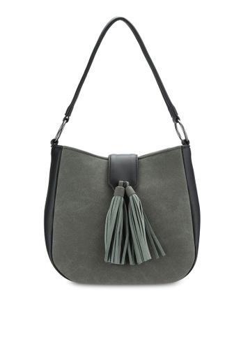 ZALORA grey Tasseled Flap Hobo Bag E3525AC8197C29GS_1