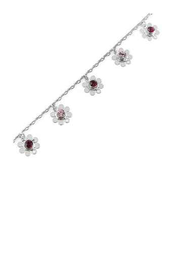 Glamorousky purple Charming Flower Anklet with Purple Austrian Element Crystal 23114ACDB45582GS_1