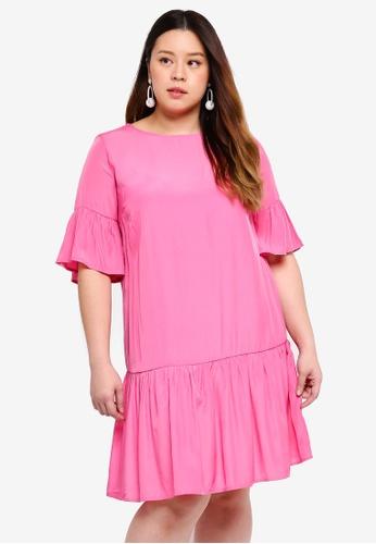 Only CARMAKOMA pink Plus Size Short Sleeved Short Dress 199D8AA2C7CBF2GS_1