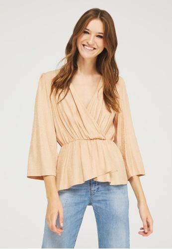 Sisley brown Crisscross blouse 698F3AAB0F85A4GS_1