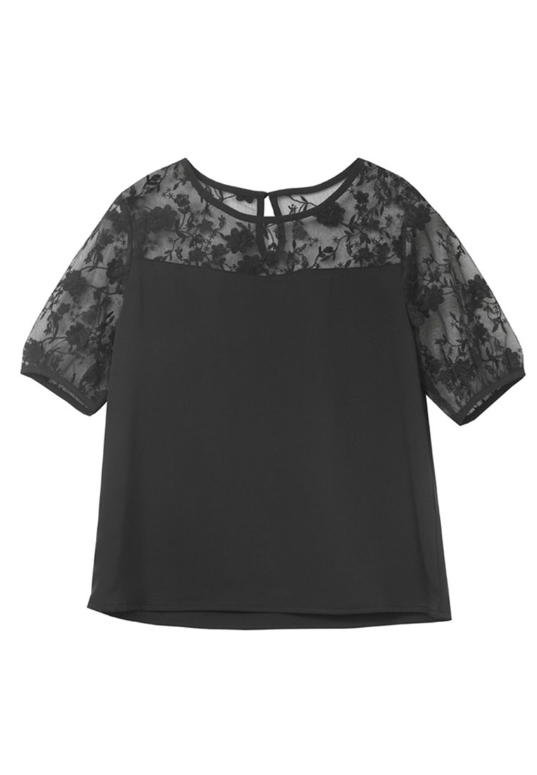 Lace Sleeves Yoco Black Puff Top 7XWqWTd