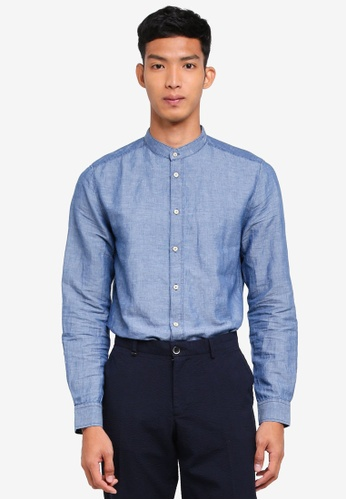Sisley 藍色 單寧立領長袖襯衫 1FB85AAAE23F2AGS_1