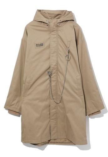 Fivecm beige Chain detail overcoat E15B6AA070C83AGS_1