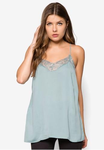 蕾絲拼接細zalora 衣服尺寸肩帶上衣, 服飾, 服飾