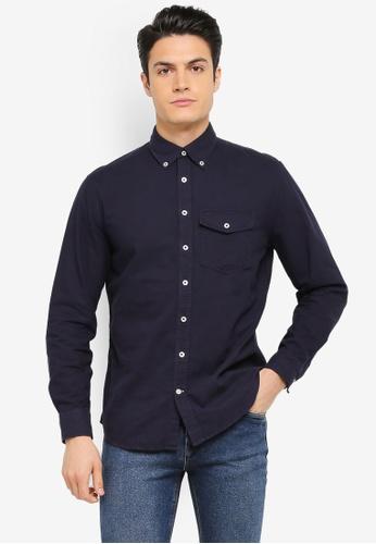 MANGO Man blue and navy Regular-Fit Cotton Shirt MA449AA0T1FEMY_1