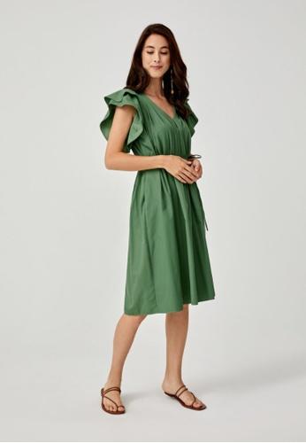 Love, Bonito green Rhea Pleated Ruffle Trapeze Dress A86AFAA8453133GS_1