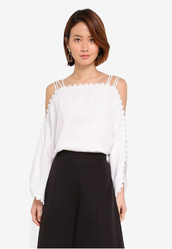 5e8d07fc4453b Buy KLEEaisons Cold Shoulder Top With Lace Trim Online on ZALORA ...