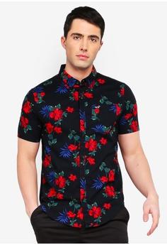 3a67b2047280 Hollister black Short Sleeve Slim Fit Poplin Shirt 81728AA531D427GS 1