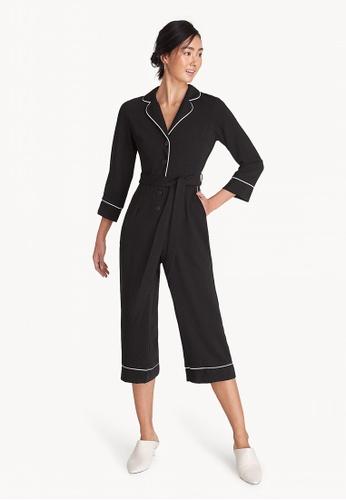 4a498dc6f83 Pomelo black Button Down Contrast Seam Jumpsuit - Black B1032AA335477EGS 1