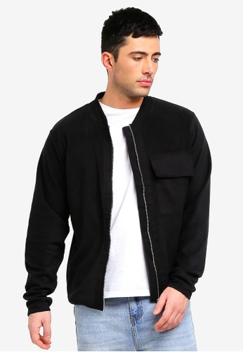 Only & Sons black Fleece Zip Bomber Jacket 989F4AAB49A48FGS_1