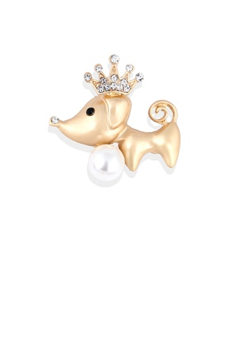 Glamorousky white Simple and Cute Plated Gold Crown Puppy Imitation Pearl Brooch with Cubic Zirconia 17F83ACAD53092GS_1