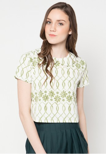 WISHFUL white and green Fabien Blouse WI930AA20YTZID_1