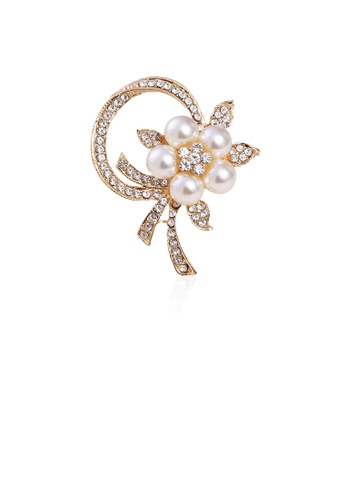 Glamorousky white Fashion and Elegant Plated Gold Flower Imitation Pearl Brooch with Cubic Zirconia B7385AC2E9E9CEGS_1