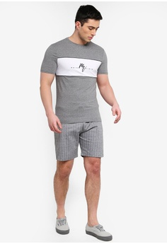 sports shoes 00a4d ef1d1 20% OFF River Island Pinstripe Slim Fit Jersey Shorts RM 169.00 NOW RM  134.90 Sizes XS S M L XL