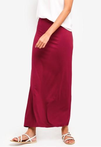 ZALORA BASICS red Basic Jersey Maxi Skirt 8EB51AAA690C93GS_1