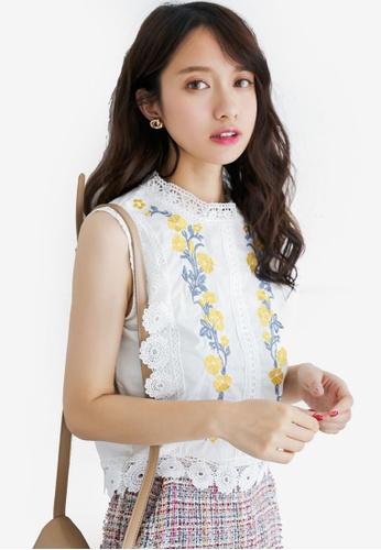 Shopsfashion white Sleeveless Lace Blouse 0629FAAA91711AGS_1