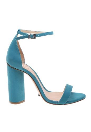 SCHUTZ blue SCHUTZ Strap Block Heel Sandal - CURRENT (CARIBE BLUE) 39987SH2711345GS_1