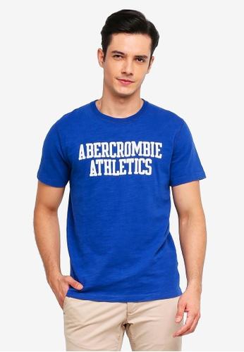 Abercrombie & Fitch 藍色 品牌刺繡T恤 66FF6AA7F04C91GS_1
