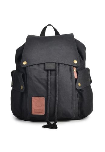 A FRENZ black Canvas Drawstring Laptop Backpack 08226ACFC1BB5AGS_1