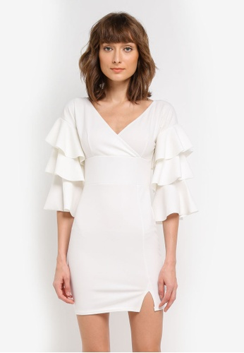 MISSGUIDED white Off Shoulder Tier Sleeve Bodycon MI511AA0SP7AMY_1