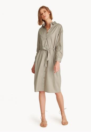 Pomelo beige Button Down Tie Waist Shirt Dress 875DEAAB7D49D0GS_1