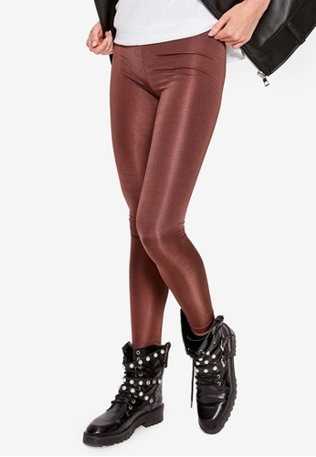 Trendyol brown Basic Shiny Disco Leggings 62026AABA0941AGS_1