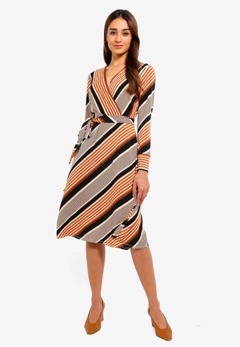 7c21c445628 Buy Wallis Petite Stone Striped Asymmetric Fit And Flare Dress Online on  ZALORA Singapore