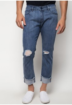 Cropped Slim Jeans with Deep Cuffs