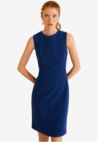 Mango blue Seam Bodycon Dress 0B90EAA18E452AGS_1