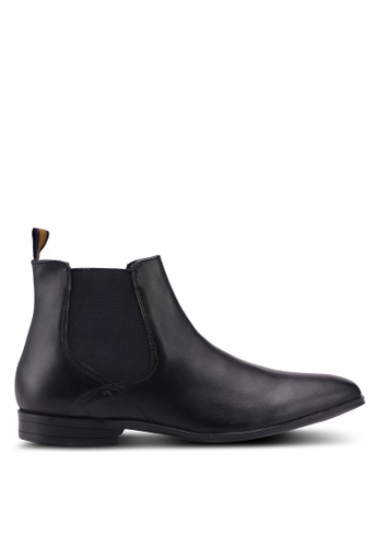 Burton Menswear London black Black Leather Chelsea Boots C3A2FSH81B3DD9GS_1